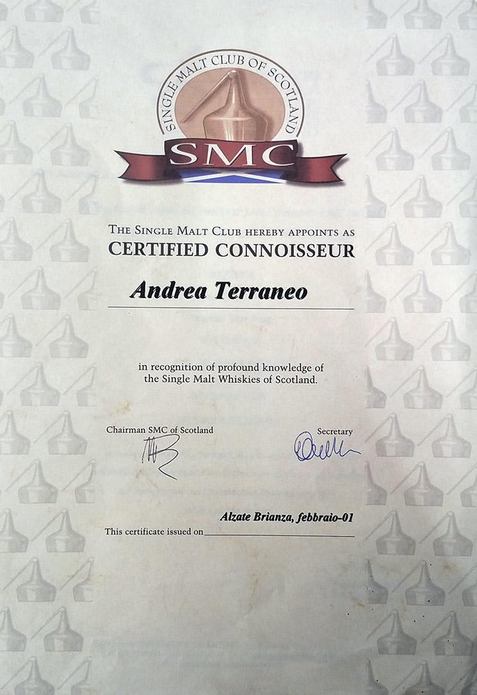 Certificato Single Malt Whiskies