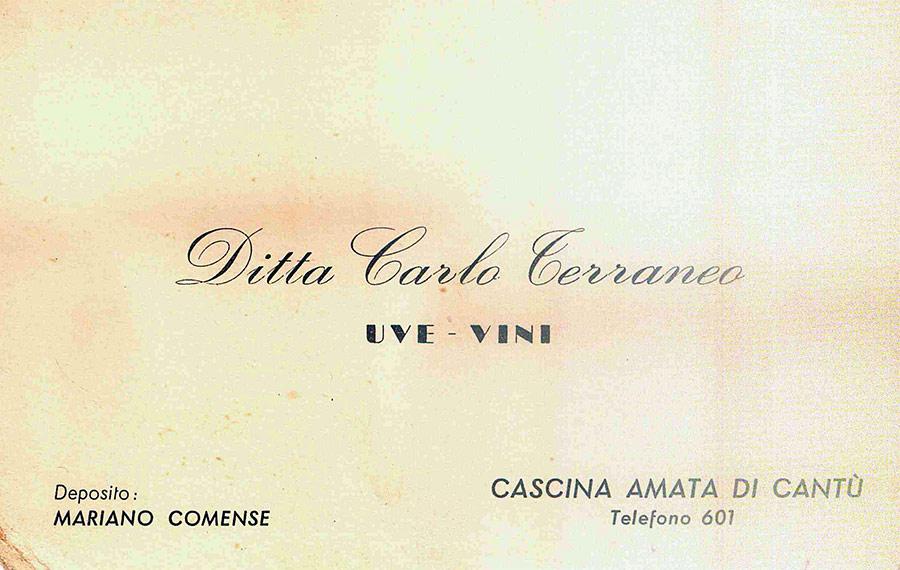 Biglietto da visita Ditta Carlo Terraneo Vini