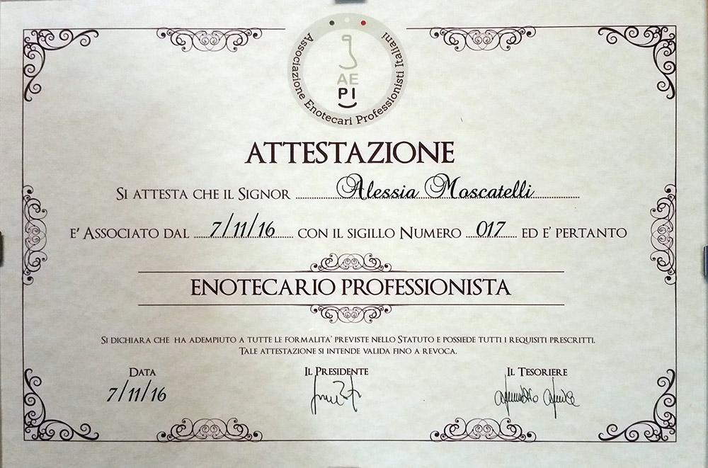 enotecario professionista Alessia Moscatelli
