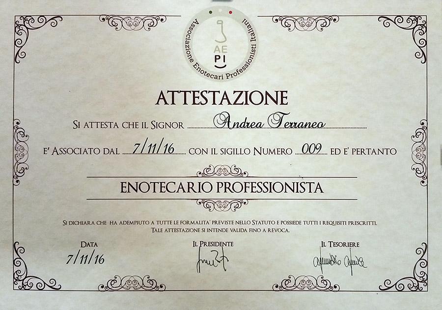 enotecario professionista Andrea Terraneo
